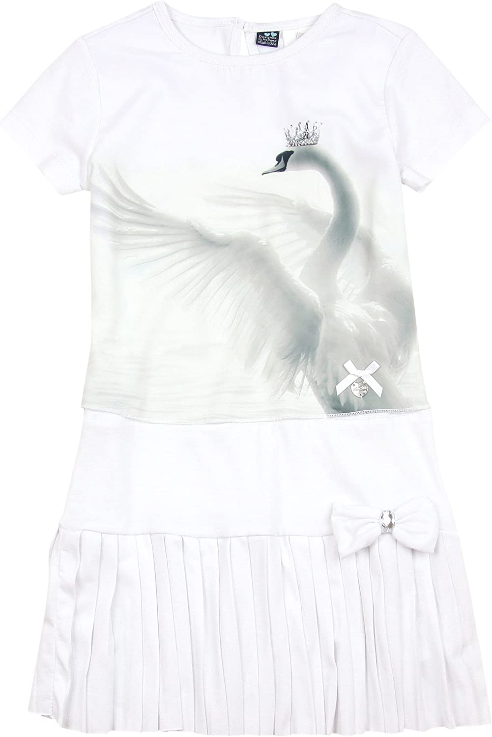 Le Chic Girl's trend rank Dress with Print Sizes Swan 3-12 Inexpensive