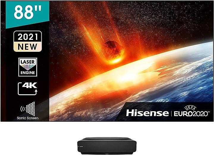 Tv 88 pollici hisense laser tv 4k 2021 88l5vg schermo anti-riflesso alr e installazione inclusi 2150 lumen