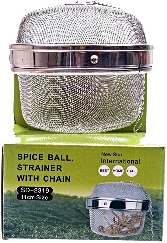 M V Trading SD2319 Stainless Steel Locking Spice Mesh Ball Tea Strainer Tea Infuser Giant Size 4 Inch