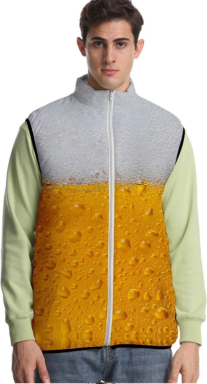 URVIP Unisex Oversized 3D Printed Beer Festival Down Puffer Vest Jacket Outwear