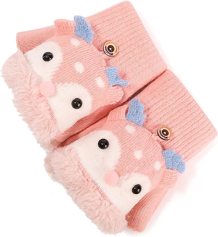LUBINGT Winter Gloves Toddler Kids Winter Knitted Convertible Gloves Christmas Cartoon Reindeer Warm Plush Lined Flip Top Fingerless Mittens (Color : Pink)