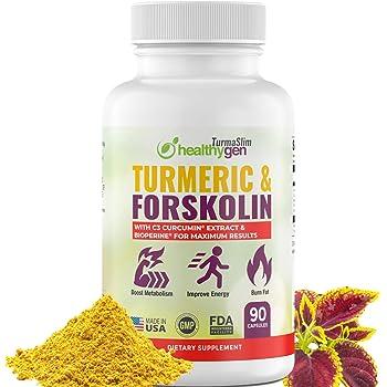 Turmeric & Forskolin Pills Maximum Strength - Curcumin C3 Complex + Pure Forskolin Extract - 90 Capsules Non GMO