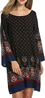 Hotouch Women Shift Dress Bohe Ethnic Style Boat Neck Vintage Printed Bohemian Dresses Plus Size M-3XL
