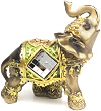 Nanxin Love Elephant Collectible Figurines Golden Thai Elephant Animal Crafts Statues with Trunk Raised Housewarming Congratulatory Gifts Wealth Lucky Home Decor Statues (One Piece) (S)