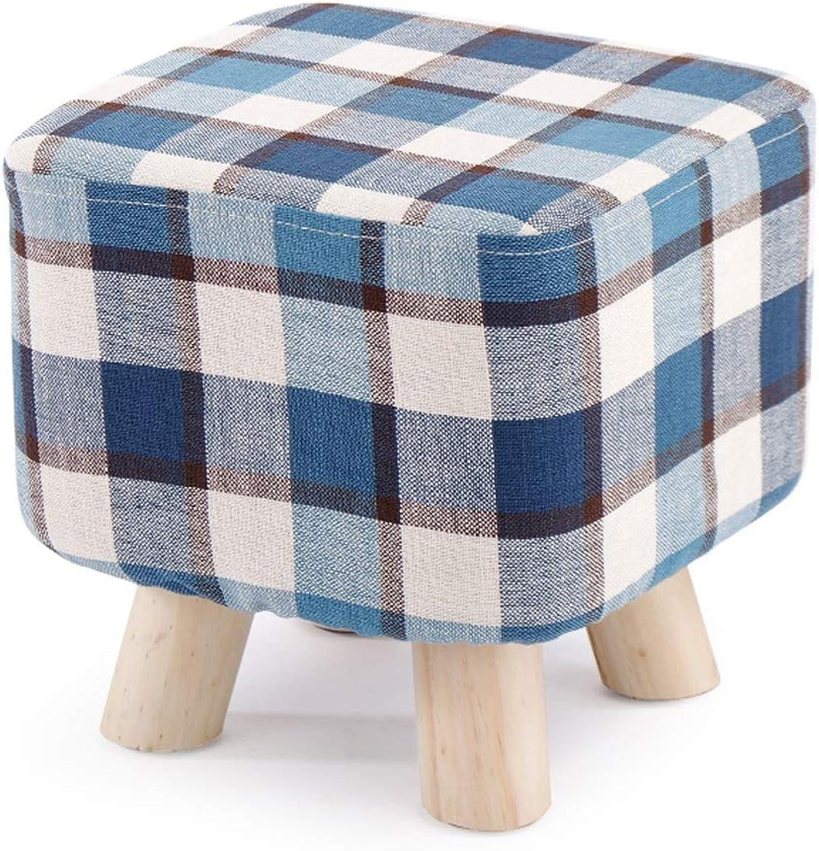 LRW Solid Wood Household Small Stool Creative Living Room shoes Stool Fashion Square Stool Cloth Sofa Stool Bench, bluee Lattice