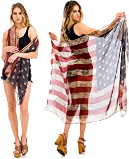 TD Collections Womens Sheer Wrap American Flag Print Shawl Red White Blue