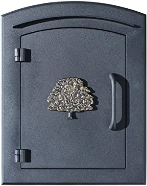"Qualarc MAN-1404-BL Manchester Column Mount Mailbox with""Decorative Oak Tree Logo"" in Black"