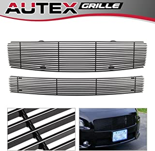 AUTEX Black Lower Bumper Billet Grille Insert Compatible with Dodge Charger 2005-2010 Grill D66439H