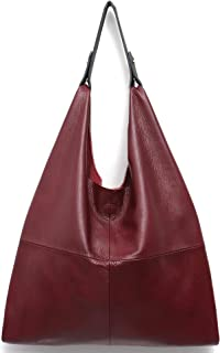 Women's Handbag STEPHIECATH Genuine Leather Slouch Hobo Shoulder Bag Large Casual Handmade Tote Vintage Snap Shopping Bags