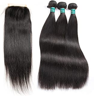 Hair Brazilian Straight Hair 3 Bundles With Closure 100% Remy Human Hair Bundles,14 14 16,Closure12,Part