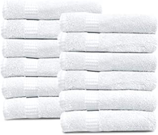 100% Cotton Towels, 12 Wash Towels 600 GSM Highly Absorbent & Soft, Premium Quality Melrose Towels Set for Bathroom (Pack ...