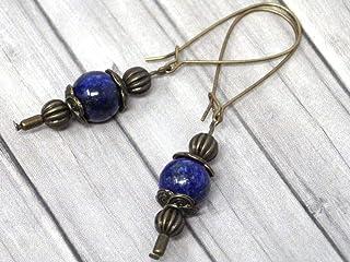 Orecchini Thurcolas in stile vintage in lapislazzuli blu montati su fantasiosi cerchi in bronzo antico