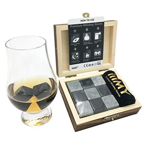 IiiMY Whisky Stones Gift Set Of 9 Natural Soapstone And Granite Chilling Rocks With Stylish Wooden