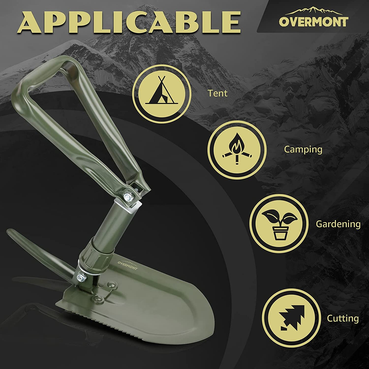 Overmont Military Folding Camping Shovel High Carbon Steel Entrenching Tool Tri-fold Handle Shovel with Carrying Pouch Green : Sports & Outdoors