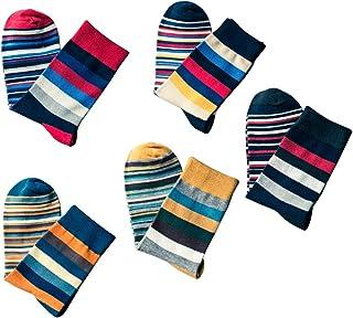 OULII Calcetines coloridos para hombre rayas largas calcetines calientes de invierno calcetines antideslizantes cómodos 5 ...
