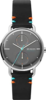Women's Stainless Steel Quartz Watch with Leather Strap, Black, 16 (Model: SKW2930)