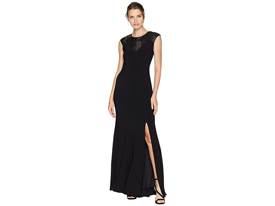 Adrianna Papell Long Jersey Gown with Beaded Neckline Detail (Black) Women