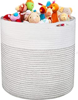 """Large Cotton Rope Basket 16.93""""x16.54"""" Woven Baby Laundry Hamper for Blankets Toys Storage with Handle Natural Color Mediu..."""