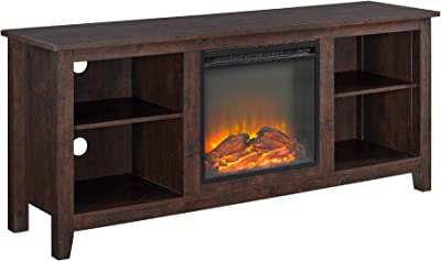 """Walker Edison Furniture Company Minimal Farmhouse Wood Universal Stand for TV's up to 64"""" Flat Screen Living Room Storage Shelves Entertainment Center, 58 Inch, Brown"""
