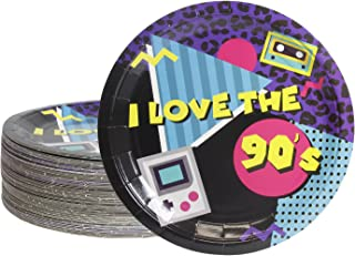 Disposable Plates - 80-Count Paper Plates, 90s Party Supplies for Appetizer, Lunch, Dinner, and Dessert, Kids Birthdays, 9 Inches in Diameter