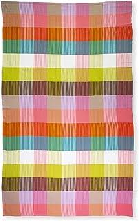 Kate Spade New York Large 100% Cotton Lightweight Quick Drying Turkish Towel, Rainbow Plaid