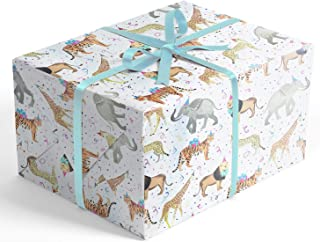 Safari Party Folded Wrapping Paper, 2 feet x 10 feet Folded Gift wrap with Elephants, Lions, Cheetahs, Giraffes and Tigers, Wrap & Revel®