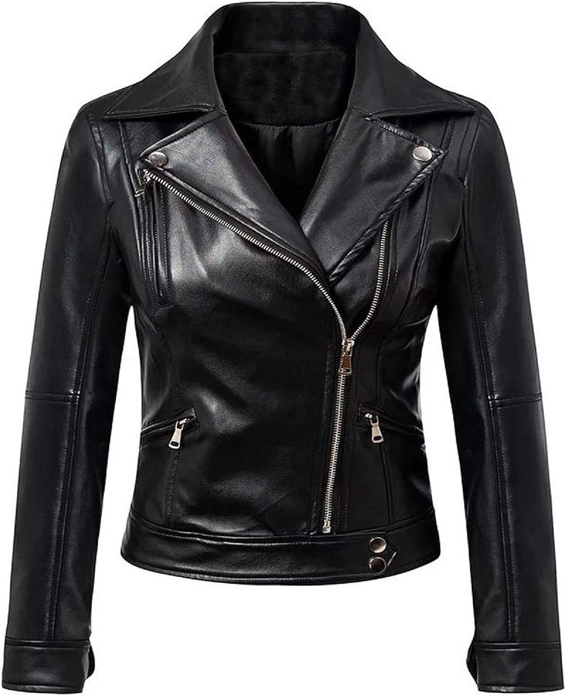 SSS Wear Women's Black Oblique Zipper Moto Biker Lambskin Leather Jacket