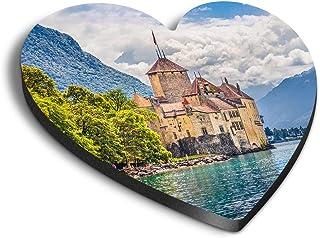 Destination Vinyl ltd Aimants Coeur MDF - Château de Chillon Lac Suisse pour bureau, armoire et tableau blanc, autocollant...