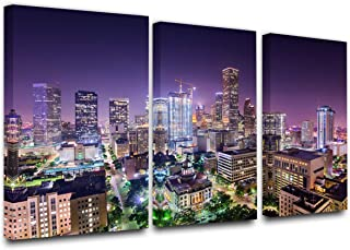 Panoramic Houston Texas, USA,Downtown City Skyline,Cityscape Picture, Black and White Stretched Canvas Art Prints, Wall Decoration for Bedroom or Office, Framed and Ready to Hang(24'' x 12'' x 3)