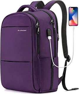 LAPACKER 15.6-17 inch Business Laptop Backpacks for Women Mens, Water Resistant Laptop Travel Bag with USB Charging Port, Lightweight College Students Notebook Computer Backpack - Purple