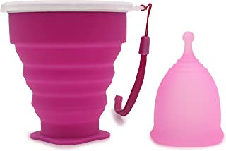 Leryeu Large Capacity Menstrual Cup with Collapsible Silicone Sterilizing Cup Best for Heavy Menstrual Days (Big,Pink)