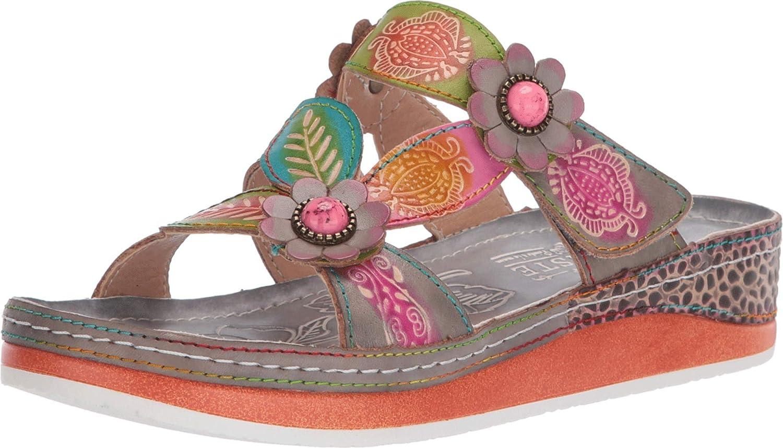 L'Artiste Women's Pillow Leather Slide Sandal