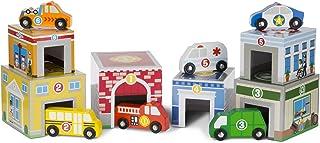Melissa & Doug Nesting & sortering byggnader & fordon | Träleksak & träning | Trucks & fordon | 3+ | Present för pojke ell...