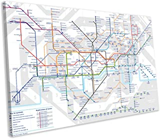 Unframe Canvas Printing Wall Decor London Underground Map Tube Lines Canvas Print Framed Wall Art Picture Wall Decoration for Living Room/Bed Room
