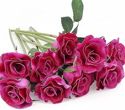 6 x Rose mit Blattwerk rot  Kunstblumen Seidenblumen