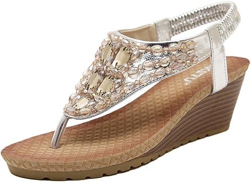 DQQ Damen Bohemian Perlen Keilabsatz Sandale