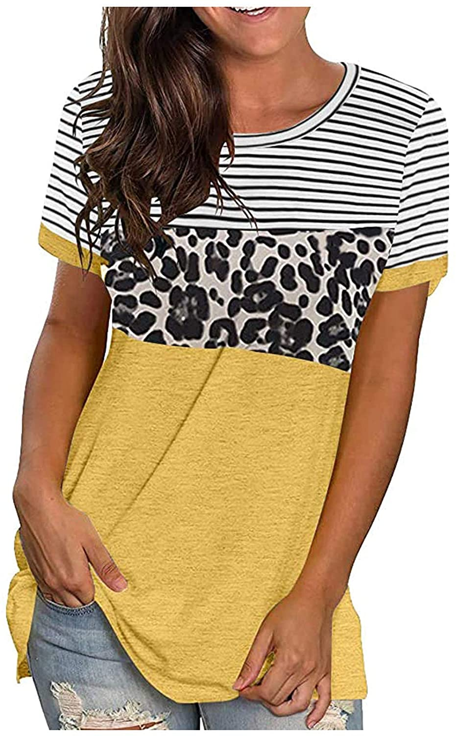 POTO Short Sleeve Tops for Womens,Women's Casual Summer Short Sleeve O-Neck T-Shirt Splicing Tee Top Loose Fit Blouses