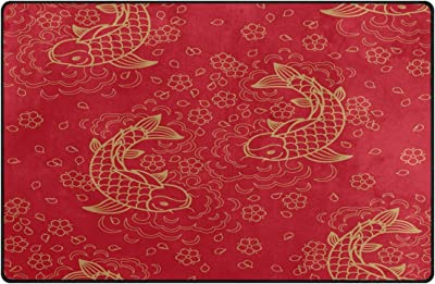 Wozo Chinese Floral Koi Fish Red Area Rug Rugs Non Slip Floor Mat Doormats For Living Room Bedroom 60 X 39 Inches Furniture Decor