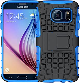 K-Xiang Samsung Galaxy S6 Case, (Armor Series) Heavy Duty Dual Layer Shockproof Silicone Phone Protective Case TPU Hybrid Kickstand Cover for Samsung Galaxy S6 (Blue)