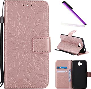 HMTECH Huawei Y5 2017 case Printing Flamingo Retro Panda Floral Wallet Folio Flip PU Leather with Stand Card Holder Slots Full Body Protect Cover for Huawei Y6 2017