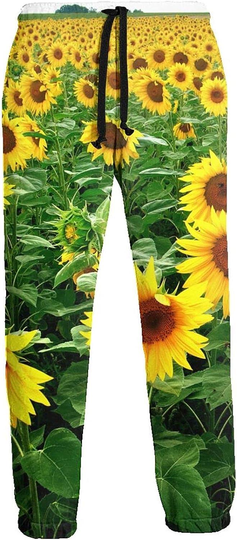 Men's Jogger Sweatpants Yellow Sunflower Field 3D Loose Joggers Pants with Drawstring Long Pants