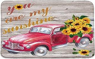 Farmhouse Bath Mat Red Truck Sunflower Rustic Wooden You are My Sunshine Vintage Bathroom Microfiber Memory Foam Bathroom ...