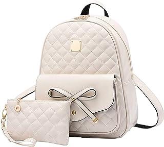 Girls Bowknot 2-PCS Fashion Backpack Cute Mini Leather Backpack Purse for Women Teen Girls
