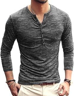 AITFINEISM Men's Casual Slim Fit Basic Henley Long Sleeve T-Shirt