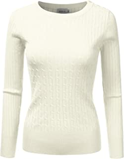 DRESSIS Womens Long Sleeve Round Neck Buttoned Shoulder Cable Knit Sweater