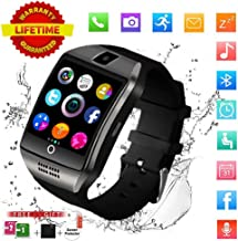 Smart Watch,Bluetooth Smart Watch for Andriod Phones, Smartwatch with Camera,Waterpfoof Smart Watches,Watch Phone Touchscreen for Android Samsung iOS Plus Men Women Youth (Black)