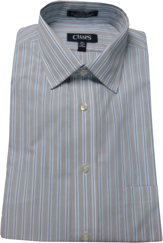 Chaps Men's Classic Fit Wrinkle Free Dress Shirt (15.5 34/35, Aquamarine Stripe)