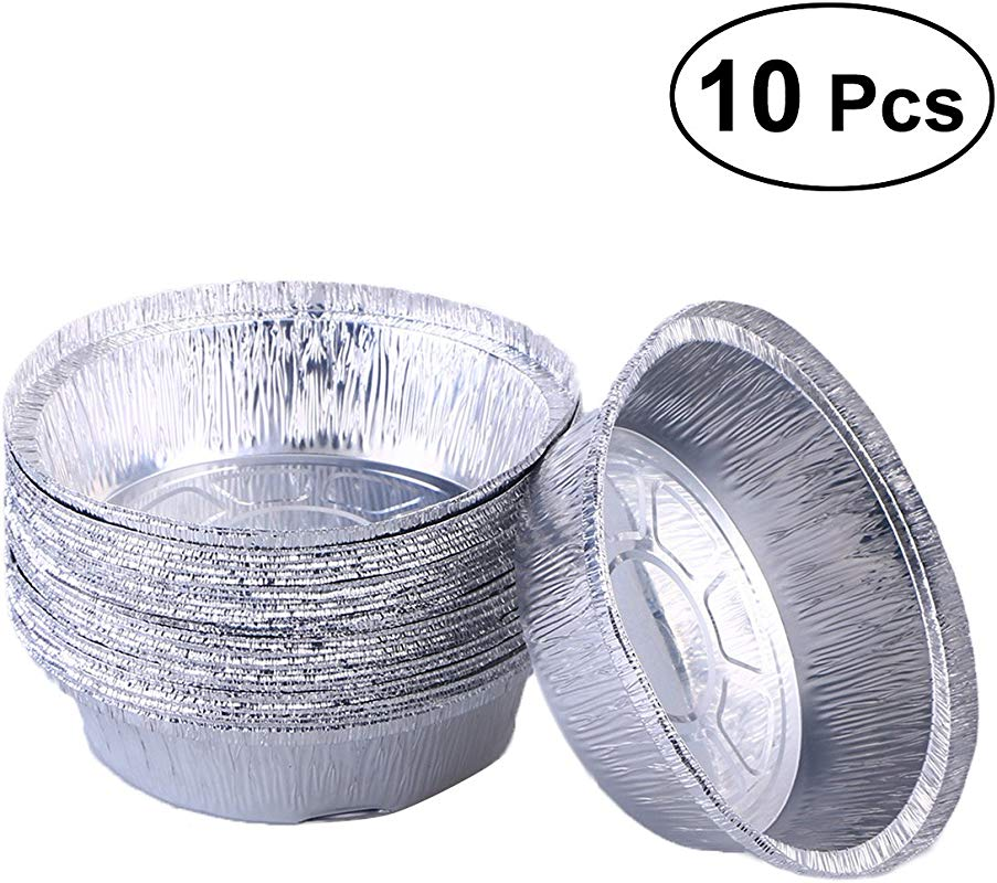 BESTONZON Aluminum Foil Tart Pie Pans Disposable Round Tin Plates For Homemade Cakes Pies 6 Inch Pack Of 10 No Lids