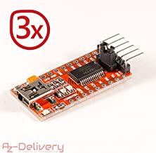 AZDelivery 3 x FTDI Serial Adapter FT232RL USB to TTL 3.3V 5V Module Mini Port for Arduino and Raspberry Pi Including Free eBook!