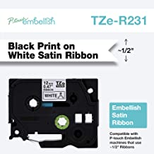 Brother P-Touch Embellish Print TZER231 Satin Ribbon, Black on White